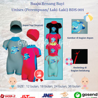 Baju Diving Bayi Gambar Hiu/Baby Shark Swimwear1-3 tahun BDS-001 - 12 bulan, Pink-Biru