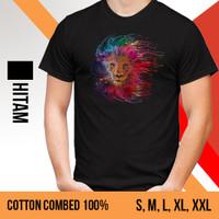 KAOS PRIA GAMBAR SINGA (T-SHIRT BERGAMBAR LION) - WARNA HITAM
