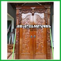 pintu rumah gebyok ukiran relief jati