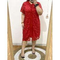 BM - Shen Red Brocade Dress Cheongsam Jumbo Baju Wanita Imlek Bigsize