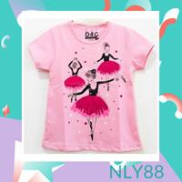 NLY88 Baju Anak / Kaos Anak Perempuan Lengan Pendek Ballerina 1-10