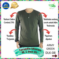 Kaos Polos Baju Pria Henley Kancing Lengan Panjang Hijau Army - DLK08