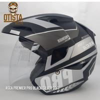 Helm Half Face Asca Premier Pro Black Silver Doff Hitam All Size XL