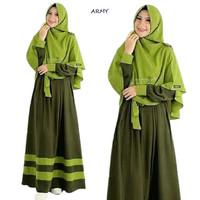Baju muslim wanita Satu Set LASMA SYARI Baju Gamis Terbaru Berkualitas - hijau army