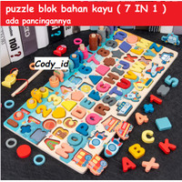 puzzle montessori angka berhitung |mainan edukasi 7 in 1 pancing ikan