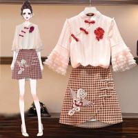 SET Korean 2pcs Pink Cheongsam Modern Plus Size Big Jumbo Dress Imlek