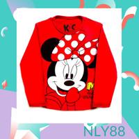 NLY88 Baju Anak / Kaos Anak Perempuan Lengan Panjang Mini Red 1-10