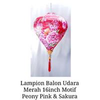 Lampion Imlek Balon Udara Merah 16inch Motif Pink Peony Mix Sakura