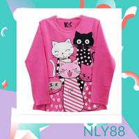 NLY88 Baju Anak / Kaos Anak Perempuan Lengan Panjang Five Cats 1-10