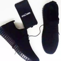 Sepatu Yezy Hitam polos Yeezy Full Black + Tali