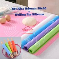 Alas Adonan Silikon + Rolling Pin Silicone/Baking Mat/Rolling Pin