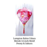 Lampion Imlek Balon Udara Merah 14inch Motif Pink Peony Mix Sakura