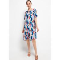 Dress Casual Spring Rayon Biru