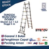 Tangga Aluminium Teleskopic Telescopic 5m 2.5+2.5 meter double lipat