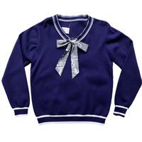 blouse wanita korea lengan panjang syal ribbon motif koran - navy