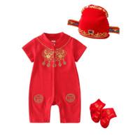 baju bayi jumper cheongsam merah CNY Imlek for baby 0-2 tahun