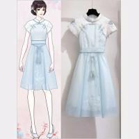 Blue Cheongsam Modern Plus Size Big Jumbo Sexy Girl Dress Anak Imlek