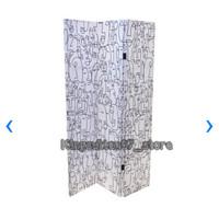 Pembatas Ruangan/Sekat Ruangan/Panel 3 Lipat 180x120x2.5 cm Abstract