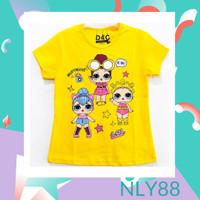 NLY88 Baju Anak / Kaos Anak Perempuan Lengan Pendek LOL Yellow 1-10