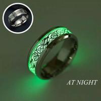 Cincin glow in the dark motiv naga stainless steel cincin pria wanita