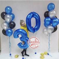 Balon Angka Jumbo BIRU 80 Cm / Balon Foil Angka jumbo / balon nomor
