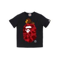 Bape Kids Color Camo Milo on Big Ape Tee Black/Red - 120