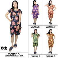 Setelan Baju Tidur Celana 3/4 Kulot Batik SPT001-02