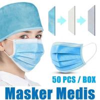 Masker Kesehatan 3Ply Earloop Disposable Face Masks 50pcs/box