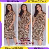Dress Manohara Motif Macan Motif Leopard Baju Santai Wanita Adem