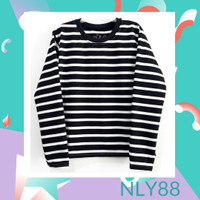 NLY88 Baju Anak / Kaos Anak Laki-laki Lengan Panjang Salur Hitam 1-10