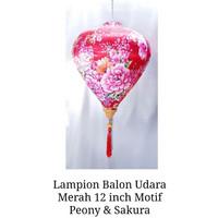 Lampion Imlek Balon Udara Merah 12inch Motif Pink Peony Mix Sakura