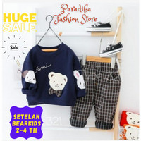 Setelan Pakaian Baju Anak Laki laki Bearkids Navy umur 2 - 4 tahun