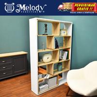 Melody-Furniture Penyekat Ruangan MOZZA SHELF whited - sonoma oak ligh