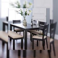 PROMO 1 set meja makan minimalis kursi 4 bangku cat hitam murah