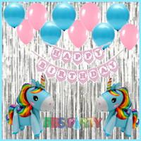 Paket dekorasi ulang tahun unicorn biru pink