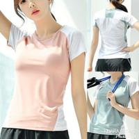 Kaos sport t-shirt lengan pendek olahraga senam gym fitness wanita