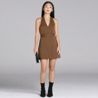 Wearstatuquo Dortmund Halter Backless Dress - Brown - Dress Wanita - Cokelat, L