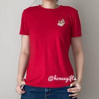 Baju imlek kaos merah puppy cute wanita remaja perempuan oblong cny - Merah