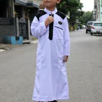 (SIAP KIRIM)JUBAH ANAK 1-6 TAHUN ORIGINAL RAFVERO/FASHION MUSLIM ANAK - Putih, 6 tahun