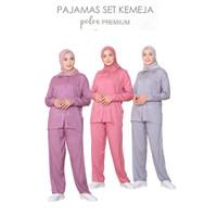 Pajamas Baju Tidur Wanita Set Kemeja Piyama Rayon Polos Lengan Panjang