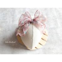 Premium Headband Big Bow Hairclip Bando bandana bayi anak HB896 - Baby Pink, Nylon Headband