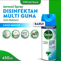 Dettol Disinfectant Spray Crisp Breeze 450ml - Dettol Desinfectan Biru
