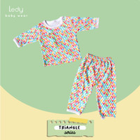 Setelan Baju Panjang Bayi - Segitiga / Triangle / Warna Warni