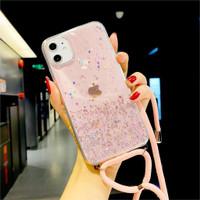 Case Vivo Y12 Y15 Y17 Y30i Y30 Y50 V11 V11i Sling Glitter Strap - CLEAR PINK, V11 V11i