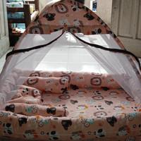 kasur bayi tenda corak animal (kelambu terpisah)