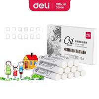 Deli Oil Pastel Profesional Warna Putih 12 pcs 72130