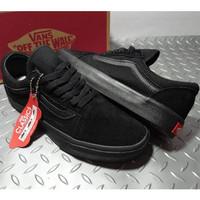 Sepatu Vans Klasik Oldskool Pria Full Black BNIB Sneakers skateboard