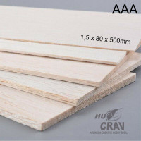 Kayu Balsa Sheet 1,5mm x 8cm x 50cm Balsa Super AAA Ringan Putih RC