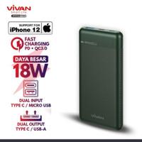 powerbank vivan VPB-M10 10.000mah 18W two way quick charging Original - green