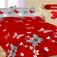 Bedcover Bonita Lengkap Sprei Rumbai Size King 180 x 200 Motif Viviane